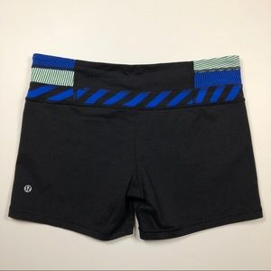 Lululemon blue black striped tight shorts 10